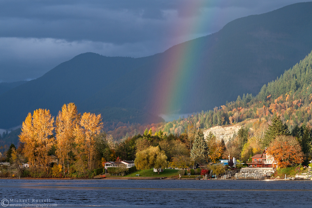 A rainbow over Hatzic Lake and Hatzic Island near Mission, British Columbia, Canada.  Photographed from Neilson Regional Park in Mission, BC.