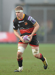 Dragons Aaron Wainwright<br /> <br /> Photographer Mike Jones/Replay Images<br /> <br /> European Rugby Challenge Cup Round 6 - Dragons v Bordeaux Begles - Saturday 20th January 2018 - Rodney Parade - Newport<br /> <br /> World Copyright © Replay Images . All rights reserved. info@replayimages.co.uk - http://replayimages.co.uk