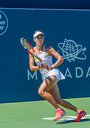 August 5, 2018 - San Jose, CA, U.S. - SAN JOSE, CA - AUGUST 05: Mihaela Buzarnescu (ROU) pursues a serve during the WTA Singles Championship at the Mubadala Silicon Valley Classic  at the San Jose State University Stadium Court in San Jose, CA  on Sunday, August 5, 2018. (Photo by Douglas Stringer/Icon Sportswire) (Credit Image: © Douglas Stringer/Icon SMI via ZUMA Press)
