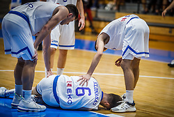 Injured Klonaras  Dimitrios of Greece during basketball match between National teams of Greece and Slovenia in the Group Phase C of FIBA U18 European Championship 2019, on July 29, 2019 in  Nea Ionia Hall, Volos, Greece. Photo by Vid Ponikvar / Sportida