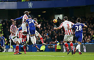 Chelsea's Gary Cahill scoring his sides opening goal during the Premier League match at Stamford Bridge Stadium, London. Picture date December 31st, 2016 Pic David Klein/Sportimage