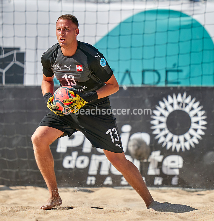 NAZARE, PORTUGAL - SEPTEMBER 3: Eliott Mounoud of Switzerland during day 2 of the Euro Beach Soccer League Superfinal at Estadio do Viveiro on September 3, 2020 in Nazare, Portugal. (Photo by Jose Manuel Alvarez/BSWW)