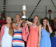 Henley on Thames. United Kingdom. GBR W4X.  Polly SWANN, Vicky MAYER-LAKER, Frances HOUGHTON and Helen GLOVER. with the Princess Grace Challenge Cup.  2013 Henley Royal Regatta, Henley Reach. 17:04:06  Sunday  07/07/2013  [Mandatory Credit; Peter Spurrier/ Intersport Images]