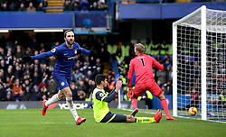 Chelsea's Gonzalo Higuain (left) celebrates scoring his side's first goal of the game during the Premier League match at Stamford Bridge, London.