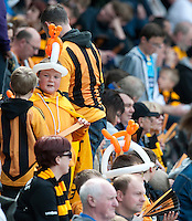 Hull City fans before kick off of their crucial game against Manchester United<br /> <br /> Photographer Chris Vaughan/CameraSport<br /> <br /> Football - Barclays Premiership - Hull City v Manchester United - Sunday 24th May 2015 - Kingston Communications Stadium - Hull<br /> <br /> © CameraSport - 43 Linden Ave. Countesthorpe. Leicester. England. LE8 5PG - Tel: +44 (0) 116 277 4147 - admin@camerasport.com - www.camerasport.com