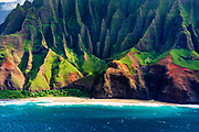 Kalalau Beach on the Na Pali Coast (aerial), Napali Coast Wilderness State Park, Kauai, Hawaii USA