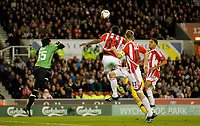20111020: STOKE ON TRENT, ENGLAND -UEFA Europe League Group E: Stoke City vs Maccabi Tel-aviv.<br /> In photo: Cameron Jerome scores the second  goal of the game for Stoke City..<br /> PHOTO: CITYFILES
