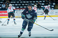 KELOWNA, CANADA - APRIL 25: Anthony Bishop #3 of the Seattle Thunderbirds warms up against the Kelowna Rockets on April 25, 2017 at Prospera Place in Kelowna, British Columbia, Canada.  (Photo by Marissa Baecker/Shoot the Breeze)  *** Local Caption ***