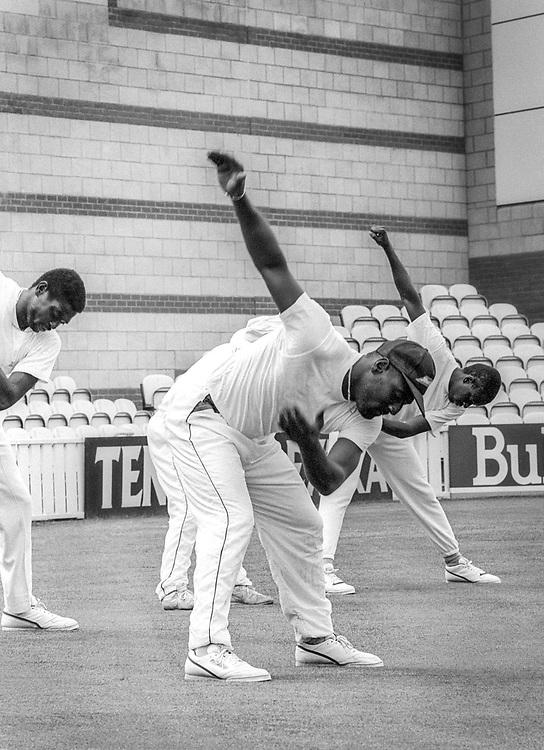 Sir Isaac Vivian Alexander Richards, Antiguan cricketer, warming up at The Oval cricket grounds, London, 1991