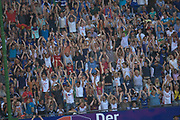 Fussball: International Friendly, 125 years, Hamburger SV - FC Barcelona 1:2, Hamburg, 24.07.2012<br /> Hamburger SV-Fans, La Ola, Welle<br /> © Torsten Helmke