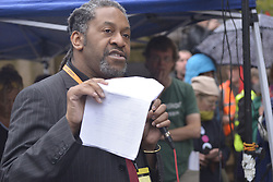 November 12, 2016 - Manchester, England, United Kingdom - Deyika Nzeribe, Greater Manchester Mayoral Candidate for The Green Party of England and Wales, speaks at a protest rally against hydraulic fracturing, also known as 'fracking', on November 12, 2016 in Manchester, England. Hydraulic Fracturing is expected to take place in various locations around England, whilst the Northern Irish, Scottish and Welsh Governments has introduced moratoriums on the gas extraction method. Although fracking is a controversial form of energy extraction, due to environmental concerns, fracking is supposed to provide cheaper and more secure energy for the United Kingdom's domestic energy market. (Credit Image: © Jonathan Nicholson/NurPhoto via ZUMA Press)