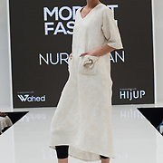 Nur Jahan showcases it latest collection Modest and beautiful at the Modest and Beautiful a Modest Fashion Live at The Atrium in Westfield London on June 24, 2018.