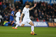 Federico Fernandez of Swansea city in action. Premier league match, Swansea city v Leicester City at the Liberty Stadium in Swansea, South Wales on Sunday 12th February 2017.<br /> pic by Andrew Orchard, Andrew Orchard sports photography.