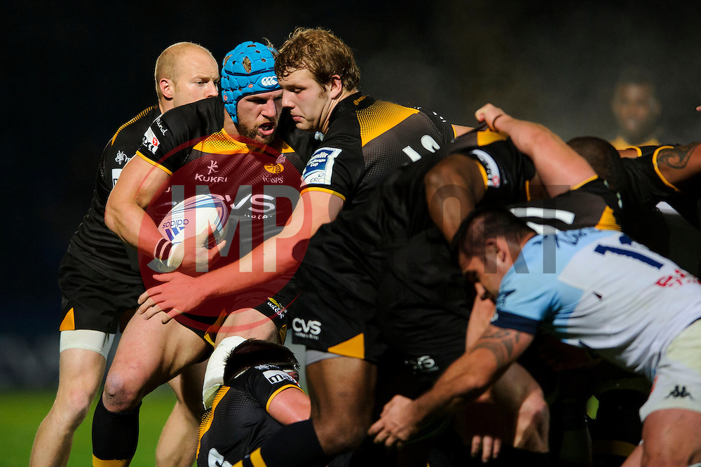 Wasps replacement (#20) James Haskell  and replacement (#19) Joe Launchbury  in action during the second half of the match - Photo mandatory by-line: Rogan Thomson/JMP - Tel: 07966 386802 - 17/10/2013 - SPORT - RUGBY UNION - Adams Park Stadium, High Wycombe - London Wasps v Bayonne - Amlin Challenge Cup Round 2.