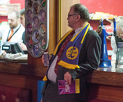 © Licensed to London News Pictures. 28/02/2015. Margate, UK.A delegate at the second day of the conference.  The UKIP spring conference at Margate Winter Gardens 28th February 2015. Photo credit : Stephen Simpson/LNP
