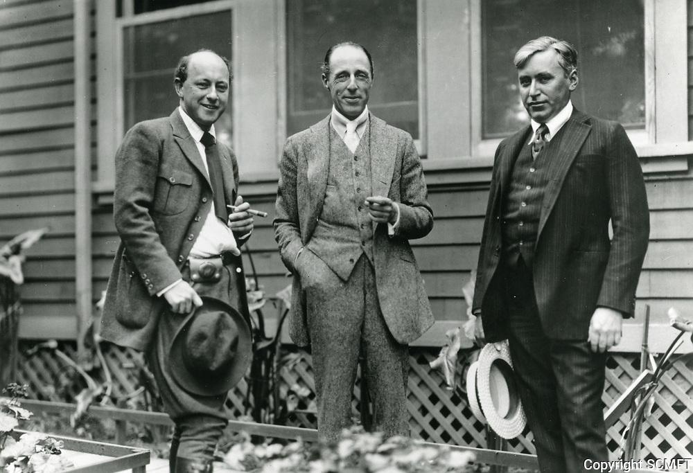 1917 CB DeMille, DW Griffith, & Mack Sennett at Famous Players Lasky Studios