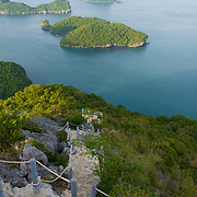 Hiking rocky hill natural trail in Ko Wua Talap island, Ang Thong national marine park, Thailand