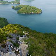 Hiking rocky hill natural trail in Ko Wua Talap island, Ang Thong national marine park, Thailand