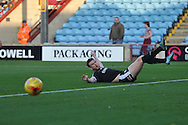 Sam Winnall of Barnsley FC slides within inches of the ball in the goal area during the Sky Bet League 1 match between Scunthorpe United and Barnsley at Glanford Park, Scunthorpe, England on 31 October 2015. Photo by Ian Lyall.