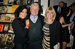 Left to right, NANCY DELL'OLIO, STANLEY JOHNSON and RACHEL JOHNSON at a party to celebrate the publication of Stanley I Resume by Stanley Johnson at the Daunt Bookshop, Marylebone High Street, London on 23rd September 2014.