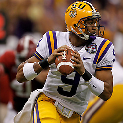 Jan 9, 2012; New Orleans, LA, USA; LSU Tigers quarterback Jordan Jefferson (9) against the Alabama Crimson Tide during the first half of the 2012 BCS National Championship game at the Mercedes-Benz Superdome.  Mandatory Credit: Derick E. Hingle-US PRESSWIRE