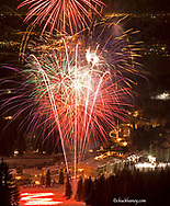 Fireworks display over the village area of Big Mountain resort during the Winter Carniaval in Whitefish Montana