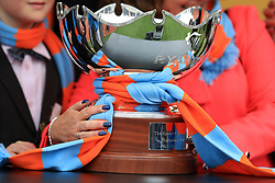 The Ryanair Chase trophy wrapped in a scarf of the O'Connell Family colours after Un De Sceaux claimed victory during St Patrick's Thursday of the 2017 Cheltenham Festival at Cheltenham Racecourse.