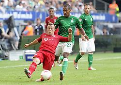 Football: Germany, Liga Total Cup, FC Bayern Muenchen - SV Werder Bremen, Hamburg, 04.08.2012.Xherdan SHAQIRI (Bayern, l.) - Theodor GEBRE SELASSIE (Werder) .©Êpixathlon