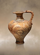 The Minoan decorated jug with elaborate design, Palaikastro,  1500-1450 BC; Heraklion Archaeological  Museum. .<br /> <br /> If you prefer to buy from our ALAMY PHOTO LIBRARY  Collection visit : https://www.alamy.com/portfolio/paul-williams-funkystock/minoan-art-artefacts.html . Type -   Heraklion   - into the LOWER SEARCH WITHIN GALLERY box. Refine search by adding background colour, place, museum etc<br /> <br /> Visit our MINOAN ART PHOTO COLLECTIONS for more photos to download  as wall art prints https://funkystock.photoshelter.com/gallery-collection/Ancient-Minoans-Art-Artefacts-Antiquities-Historic-Places-Pictures-Images-of/C0000ricT2SU_M9w