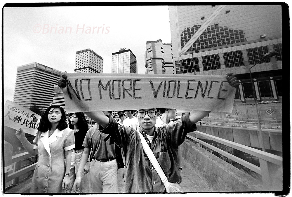 Hong Kong two days after the massacre in Tiananmen Square in Beijing in June 1989<br /> Students protset the deaths of fellow students in Beijing days earlier near the British Embassey in Hong Kong