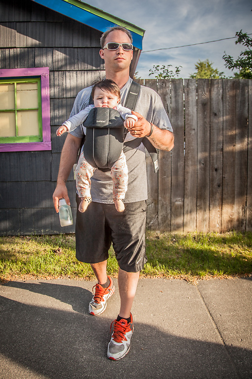 Leif Moen with his daughter, Luna, in Anchorage's South Addition neighborhood.  moenleif@gmail.com