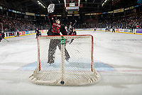 KELOWNA, CANADA - JANUARY 16: Brodan Salmond #30 of the Moose Jaw Warriors makes a catch save during third period against the Kelowna Rockets on January 16, 2019 at Prospera Place in Kelowna, British Columbia, Canada.  (Photo by Marissa Baecker/Shoot the Breeze)
