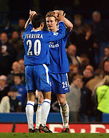 Fotball<br /> Premier League 2004/05<br /> Chelsea v West Bromwich<br /> 15. mars 2005<br /> Foto: Digitalsport<br /> NORWAY ONLY<br /> Chelsea's Paulo Ferreira and Robert Huth celebrate victory a the end of the game