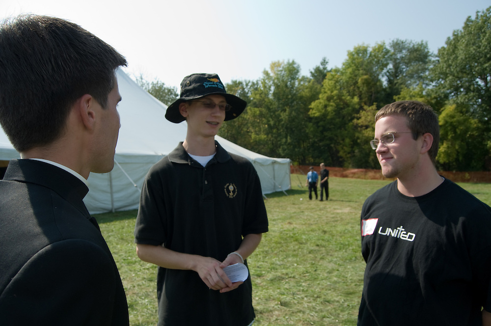 Brother Juan Carlos from St. Domitilla parish in Hillside, Chicago talks with Edward Looney age 19 (left) and Andrew Teeter age 17 at the St. John Bosco Youth Rally on September 27, 2008 at Holy Hill in Hubertus, Wisconsin. Edward is attending with Catholic Youth Expeditions and Andrew is attending with the Diocese of Madison.