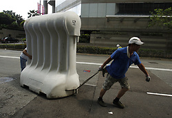 June 27, 2017 - Hong Kong, CHINA - Workers set up barricade outside GRAND HYATT HOTEL where PRC president Xi Jin Ping is scheduled to stay during his official visit from 29 June - 1 July. Hong Kong is on high alert as Chinese top officials visit is approaching. June 27, 2017.Hong Kong.ZUMA/Liau Chung Ren (Credit Image: © Liau Chung Ren via ZUMA Wire)