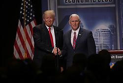 Republican Vice President nominee Mike Pence introduces Republican nominee Donald Trump in front of the Detroit Economic Club at Cobo Center on Monday August 8, 2016 in downtown Detroit, MI, USA. Photo by Ryan Garza/Detroit Free Press/TNS/ABACAPRESS.COM