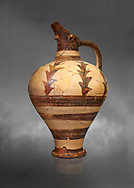 Minoan decorated jug for export, Kommos Harbour 1600-1450 BC; Heraklion Archaeological  Museum, grey background. .<br /> <br /> If you prefer to buy from our ALAMY PHOTO LIBRARY  Collection visit : https://www.alamy.com/portfolio/paul-williams-funkystock/minoan-art-artefacts.html . Type -   Heraklion   - into the LOWER SEARCH WITHIN GALLERY box. Refine search by adding background colour, place, museum etc<br /> <br /> Visit our MINOAN ART PHOTO COLLECTIONS for more photos to download  as wall art prints https://funkystock.photoshelter.com/gallery-collection/Ancient-Minoans-Art-Artefacts-Antiquities-Historic-Places-Pictures-Images-of/C0000ricT2SU_M9w