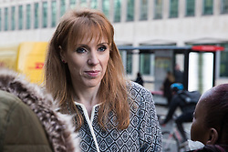 London, UK. 22nd January, 2019. Shadow Education Secretary Angela Rayner shows solidarity for support staff at the Department for Business, Energy and Industrial Strategy (BEIS) represented by the Public and Commercial Services (PCS) union on the picket line after beginning a strike for the London Living Wage of £10.55 per hour and parity of sick pay and annual leave allowance with civil servants. The strike is being coordinated with receptionists, security staff and cleaners at the Ministry of Justice (MoJ) represented by the United Voices of the World (UVW) trade union.