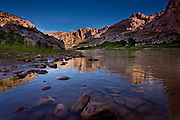 Morning reflections on the Green River at Split Mountain, Dinosaur National Monument, Utah
