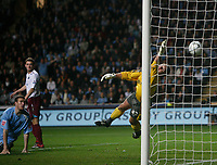 Photo: Steve Bond.<br /> Coventry City v West Ham United. Carling Cup. 30/10/2007. Andy Marshall dives dispairingly but cannot prevent thw west Ham deflected equaliser