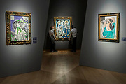 Pablo Picasso, Paloma  Est. GBP 3,000,000 - GBP 5,000,000, Mousquetaire et nu assis (c), Est. GBP 12,000,000 - GBP 18,000,000 and Femme se coiffant (r) Est. GBP 2,500,000 - GBP 3,500,000 -Christie's unveil an exhibition of in advance of their Impressionist and Modern sale on 27 February.