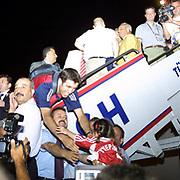 Turkish soccer National team come back to Turkey World Cup 2002 . Turkey's Hakan SUKUR with daughter Zeynep Sude during their in Ataturk Airport in Istanbul/TURKEY.<br /> Photo by Aykut AKICI/TurkSporFoto