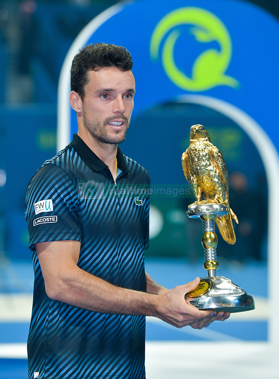 DOHA, Jan. 6, 2019  SP)QATAR-DOHA-TENNIS-QATAR OPEN.    Roberto Bautista Agut of Spain poses with the trophy.    after winning the final match against Tomas Berdych of Czech Republic at the ATP Qatar Open tennis tournament in Doha, capital of Qatar, Jan. 5, 2019. Roberto Bautista Agut claimed the title by defeating Tomas Berdych with 2-1. (Credit Image: © Yangyuanyong/Xinhua via ZUMA Wire)