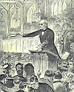 Election campaign, November/December 1885. Gladstone, Leader of the Liberal oppositioin, addressing a meeting in Edinburgh. Gladstone defeated Lord Salisbury's Conservative administration. From 'The Illustrated London News', 21 November 1885.