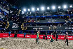 "Agatha Bednarczuk BRA, Eduarda Santos Lisboa ""Duda"" BRA in action during the last day of the beach volleyball event King of the Court at Jaarbeursplein on September 12, 2020 in Utrecht."