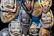 African masks outside a shop in the medina of Chefchaouen, Morocco.