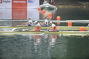 Bled, SLOVENIA,   Women's Pair finalCHN W2-, Bow LI, Meng and LI, Tong, USA1 W2- FRANCIA, Zsuzsanna and CAFARO, Erin approach the finishing line at the 1st FISA World Cup. Rowing Course. Lake Bled.  Sunday  30/05/2010  [Mandatory Credit Peter Spurrier/ Intersport Images]