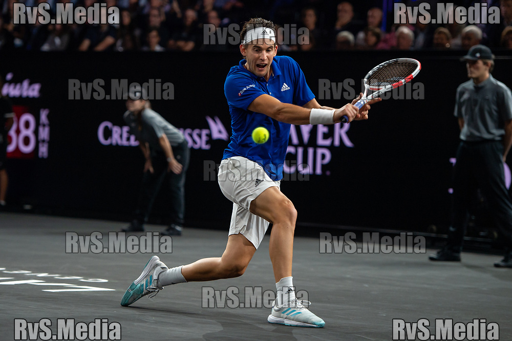 GENEVA, SWITZERLAND - SEPTEMBER 20: Dominic Thiem of Team Europe plays a backhand during Day 1 of the Laver Cup 2019 at Palexpo on September 20, 2019 in Geneva, Switzerland. The Laver Cup will see six players from the rest of the World competing against their counterparts from Europe. Team World is captained by John McEnroe and Team Europe is captained by Bjorn Borg. The tournament runs from September 20-22. (Photo by Monika Majer/RvS.Media)