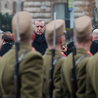 Recep Tayyip Erdogan Prime Minister of Turkey and his counterpart Viktor Orban (not pictured) inspect the guard of honor during a welcoming ceremony in Budapest, Hungary on February 05, 2013. ATTILA VOLGYI