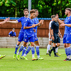 Swindon Supermarine celebrates at the Webbswood stadium goal by Harry Williams in the 11th minute